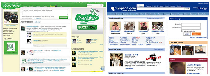 FriendsterとMySpaceの画面